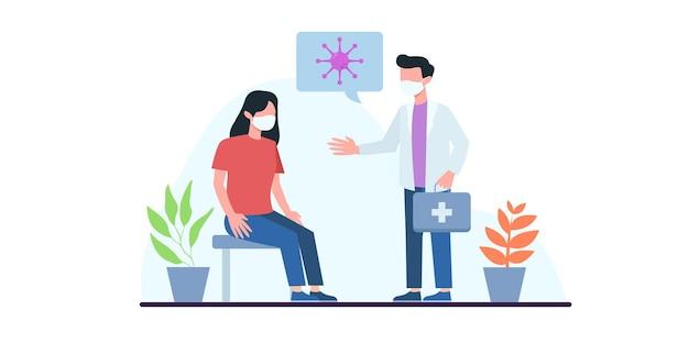 Menschenimpfkonzept für die gesundheit der immunität. covid19. der arzt spritzt dem mann im krankenhaus einen grippeimpfstoff. erklärung zum impfstoff. gesundheitswesen, coronavirus, prävention und immunisierung