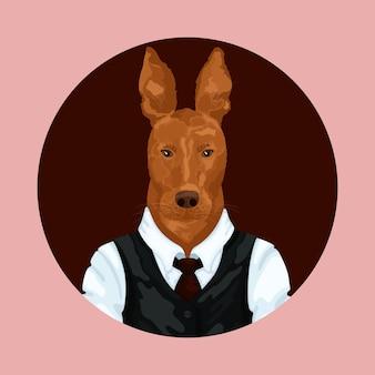 Menschenkunsttierhundecharakterporträttier im tuchmodehippietier