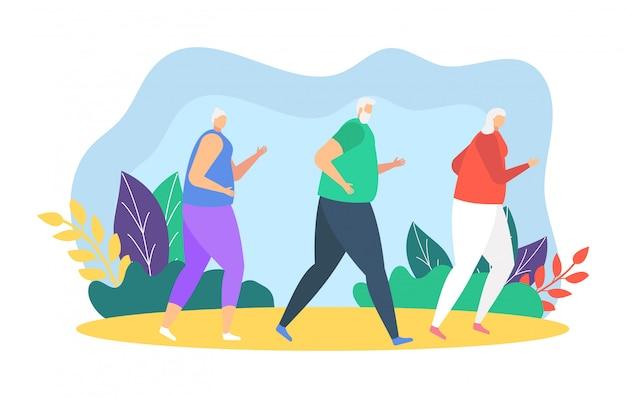 Menschenläufer, die illustration, karikaturvater, mutter und tochter joggen, nehmen am sportmarathon auf weiß teil