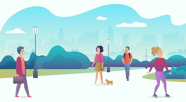 Menschenleben in moderner öko-stadt. menschen, die in der natur in einem schönen stadtpark mit wolkenkratzern auf dem hintergrund entspannen. farbige vektorillustration des trendigen karikaturgradienten.