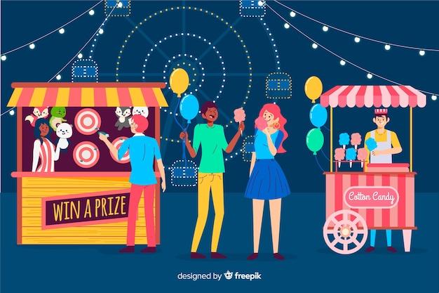 Menschenmenge auf einer nachtmesse