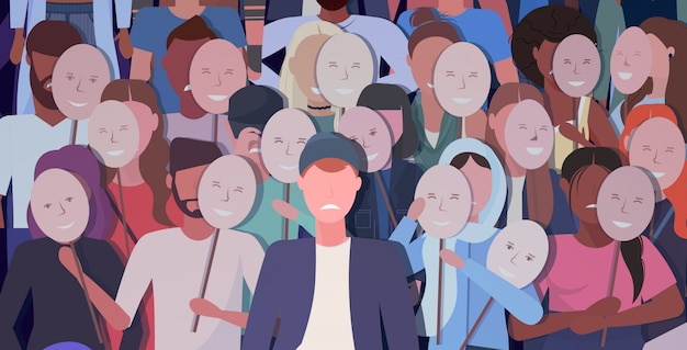 Menschenmenge, die positive masken hält männer frauengruppe, die gesichtsgefühle hinter masken bedeckt