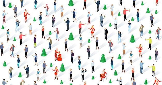 Menschenmenge, die weihnachten und neujahr feiert