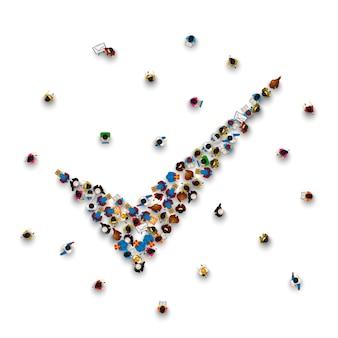 Menschenmenge in form eines symbols zur bestätigung auf weißem hintergrund. vektor-illustration