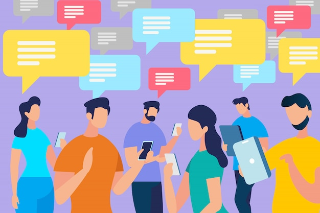 Menschenmenge mit sprechblasen kommunizieren