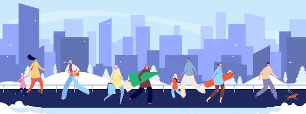 Menschenmenge tragen winterkleidung. winterstadtstraße, mannfraueneinkaufen, zu fuß und zur arbeit gehen. kaltes wetter, saisonferien in der stadtvektorillustration. weihnachtsspaziergang mit baum und geschenk