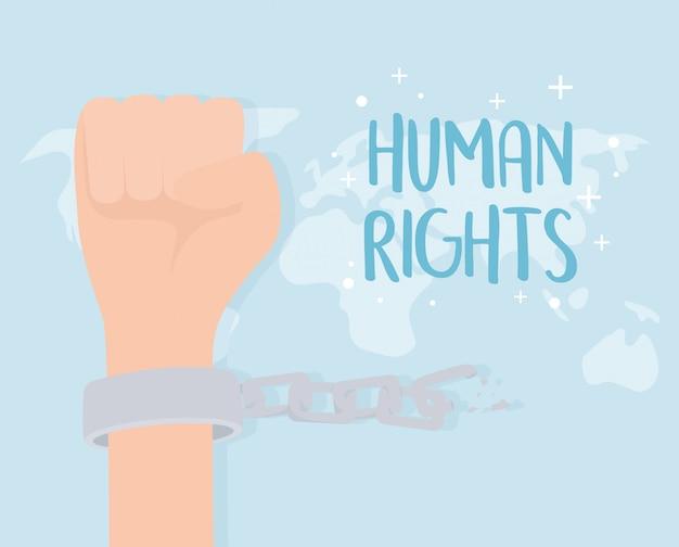 Menschenrechte, hand mit handschellen und kettenweltvektorillustration