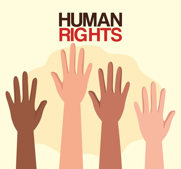 Menschenrechte mit hands-up-design, manifestationsprotest und illustration zum demonstrationsthema