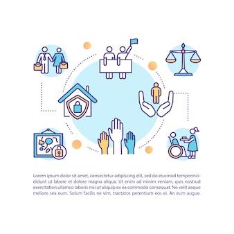 Menschenrechtskonzeptikone mit text. menschliche freiheiten. soziale und kulturelle rechte. gleichstellung am arbeitsplatz. ppt-seitenvorlage. broschüre, magazin, broschürenelement mit linearen abbildungen