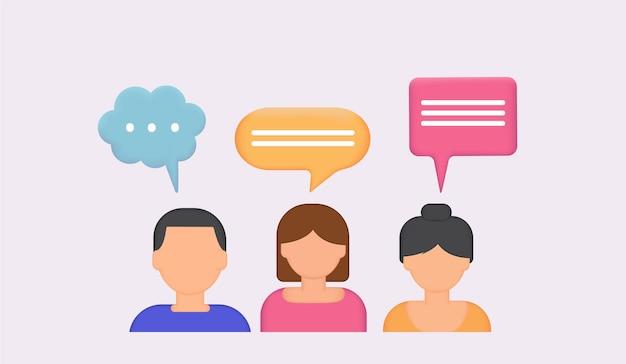 Menschensymbole mit dialog-sprechblasen 3d-chat-blasetalk-dialog-messenger oder online-support