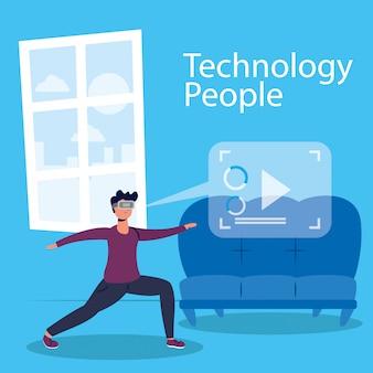 Menschentechnologie mit virtuoser realitätsmaske