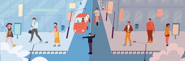 Menschenwanderer transportieren fahrer in gesichtsmaske ohne schutzkleidung auf der straße.