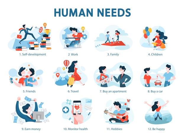 Menschliche bedürfnisse eingestellt. persönliche entwicklung und selbstwertgefühl