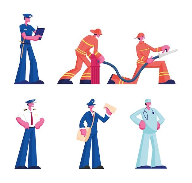 Menschliche berufe eingestellt. männliche und weibliche charaktere, die uniform tragen, lokalisiert auf weißem hintergrund, flache karikaturillustration