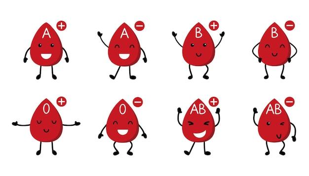 Menschliche blutgruppe und rh-faktor. süße blutstropfen im cartoon-stil