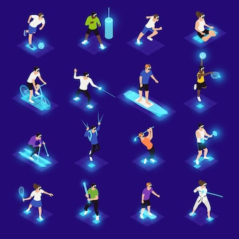 Menschliche charaktere in vr-gläsern während verschiedener isometrischer symbole der sportaktivität auf blau