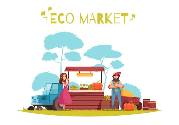 Menschliche charaktere und ernte des gartenbaus bei öko-marktkarikaturzusammensetzung auf blauem weißem hintergrund