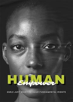 'menschliche ermächtigung' vektor-afrikanerin auf zerrissenem papiermedien-remix-poster