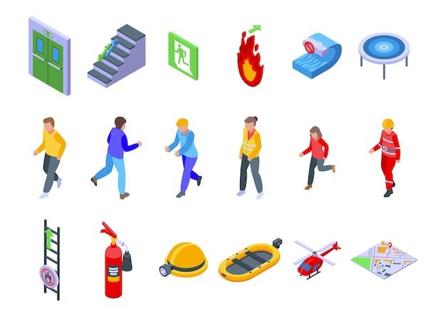Menschliche evakuierungssymbole gesetzt. isometrischer satz menschlicher evakuierungsvektorikonen für das webdesign lokalisiert auf weißem hintergrund