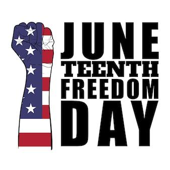 Menschliche faust mit flagge von liberia-muster mit text, juneteenth independence day. tag der freiheit oder emanzipation. jährlicher amerikanischer feiertag, der im juni 19 gefeiert wird. vektor-illustration.