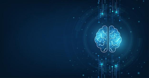 Menschliche gehirnform einer künstlichen intelligenz.