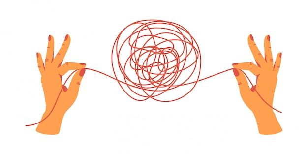 Menschliche hände, die die enden der fäden halten, lösen das gewirr. handgezeichnete vektor-illustration.