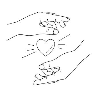 Menschliche hände, die herz halten. hand gezeichnete strichzeichnungen.