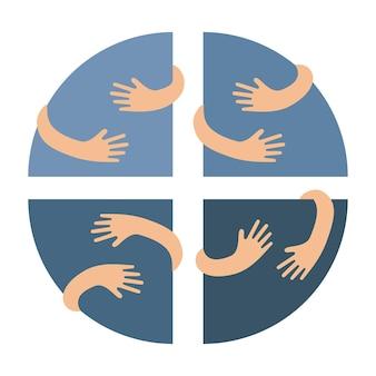 Menschliche hände, die kreissegmente umarmen oder halten, vektor-flache illustration
