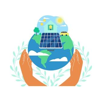 Menschliche hände, die sonnenkollektor mit dollarmünze und glühbirne halten, die mit sonnenkollektor verbunden sind