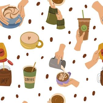 Menschliche hände, die verschiedene kaffeetassen und -becher halten nahtloses muster