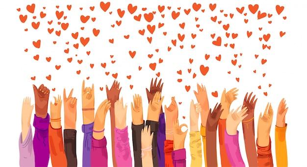 Menschliche hände erhoben sich und sendeten liebe, wertschätzung, verbindung und unterstützung. dating-app, suche nach liebe und romantischem ereignis oder datum, senden von liebe und ähnlichen zeichen illustration.
