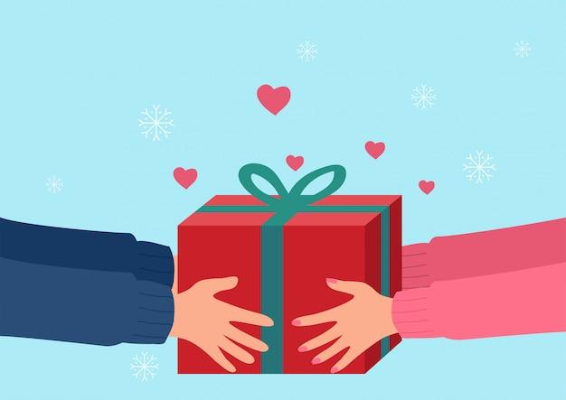 Menschliche hände geben geschenk