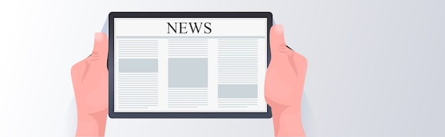 Menschliche hände mit tablet-pc lesen tägliche nachrichten online-zeitung presse massenmedien-konzept