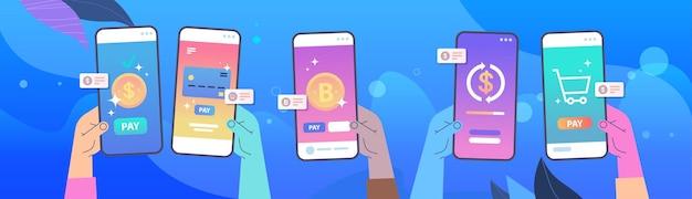 Menschliche hände unter verwendung der mobile-banking-app auf smartphone-bildschirmen online-zahlung elektronische bankanwendung geldtransfer-konzept horizontale vektor-illustration