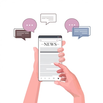 Menschliche hände unter verwendung des smartphones, das tägliche nachrichten liest online-zeitungspresse massenmedien-chat-blase kommunikationskonzeptillustration