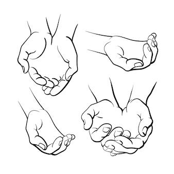 Menschliche hände vektor-set ansicht von oben kunstlinie illustration grafische einfache symbolskizze isolieren