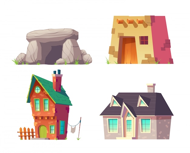 Menschliche häuser von prähistorischem zu karikatur-vektorsatz der modernen zeit lokalisiert. höhlen sie, altes flachdachhaus, ländlichen hut mit backsteinmauern und ziegeldach, modernes häuschen, villengebäudeillustration aus