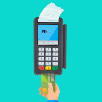 Menschliche hand, die grüne kreditkarte vom pos-terminal mit weißem scheck und pin-beschriftung auf dem bildschirm nimmt. zahlungsvorgang mit plastikkarte. illustration eines isolierten zahlenden elektronischen geräts
