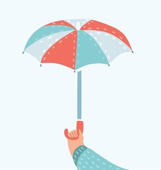 Menschliche hand, die realistische vektorillustration des offenen gelben regenschirms hält