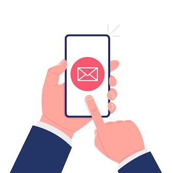 Menschliche hand hält mobiles smartphone-gerät mit neuer e-mail-nachricht. vektor-illustration.