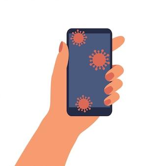 Menschliche hand hält smartphone mit coronavirus-mikroben auf bildschirmoberfläche. telefon mit desinfektion waschen.