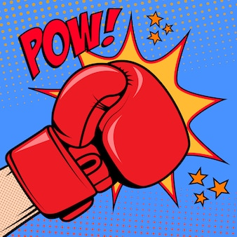 Menschliche hand im pop-art-stil mit boxhandschuh. pow. gestaltungselement für plakat, flyer.