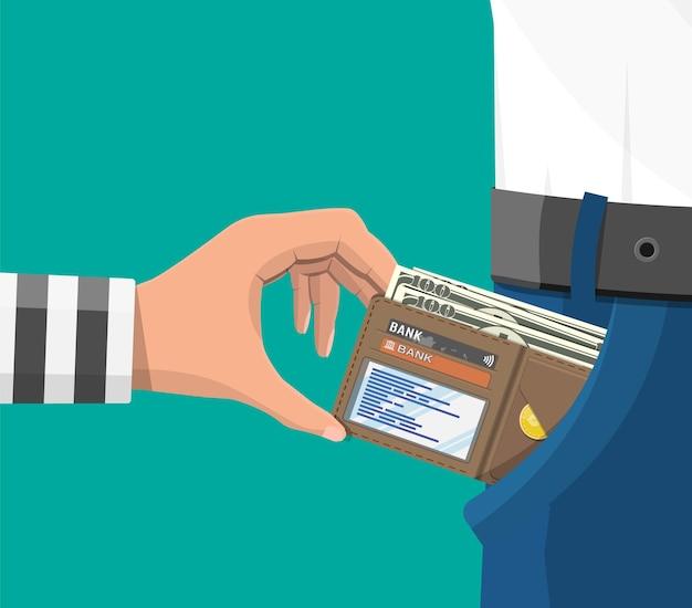 Menschliche hand in gefängnisrobe nimmt geld aus der tasche. dieb taschendieb stehlen dollar-banknoten aus jeans. konzept für kriminalität und raub. flache vektorillustration