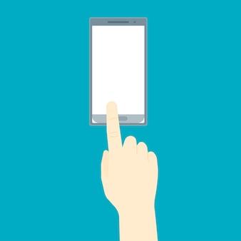 Menschliche hand mit mobilem smartphone-set für web und app auf blauem hintergrund platz für ihren text. vektor-illustration