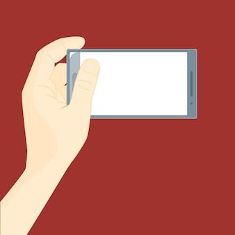 Menschliche hand mit mobilem smartphone-set für web und app auf rotem hintergrund platz für ihren text. vektor-illustration