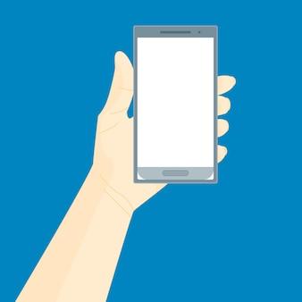 Menschliche hand mit mobilem smartphone-set für web und app im hintergrund für ihren text. vektor-illustration
