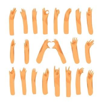 Menschliche hand mit sammlung von zeichen und handgesten - ok, liebe, grüße, frieden, winkende hände. mann und frau handflächen eingestellt