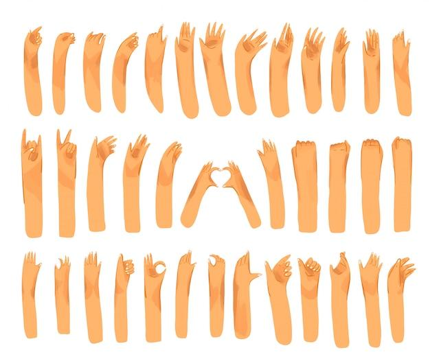 Menschliche hand mit sammlung von zeichen und handgesten - ok, liebe, grüße, winkende hände, telefon- und app-steuerung mit den fingern. mann und frau hände gesetzt