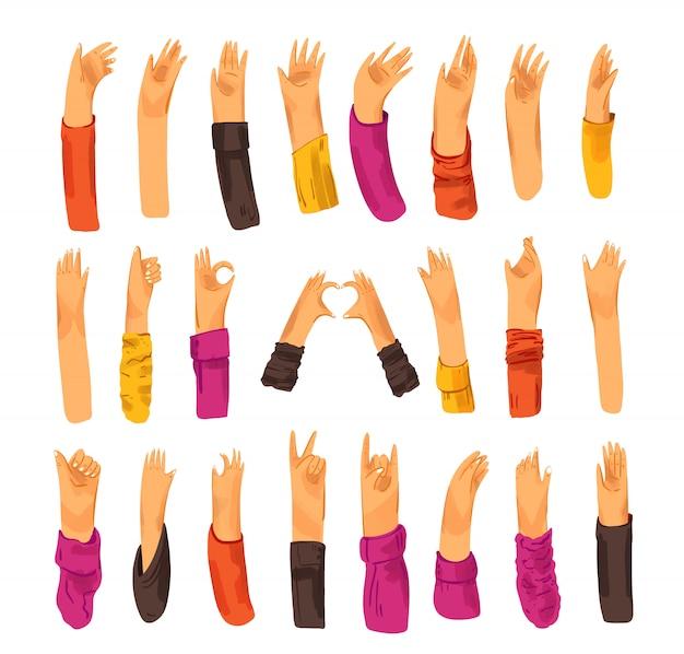 Menschliche hand sammlung von zeichen und handgesten - ok, liebe, grüße, frieden, winkende hände.