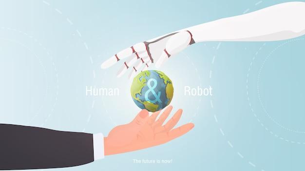 Menschliche hand und roboter. die zukunft ist jetzt! konzept der zukunft.